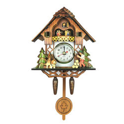 Antique Style Carved Cuckoo Wall Clock Pendulum Clock Craft Art Clock A