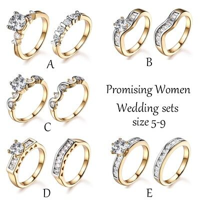 Best Bride Wedding White Sapphire Crystal Two Gold Tone Finger Ring Band (Best Gold Wedding Rings)