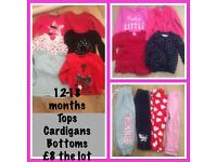 12-18 month girls clothing bundle, tops, bottoms, cardigans