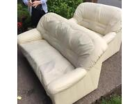 3&2 seater cream faux leather sofas FREE