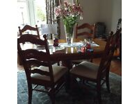 Solid wood oval dining table with 6 chairs