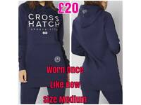 Navy Blue Ladies Crosshatch Long Hoodie