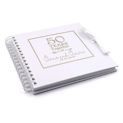 50th Anniversary Guest Book Personalized (Personalised 50th Golden Anniversary Photo Album or Guest Book WHSCR-)