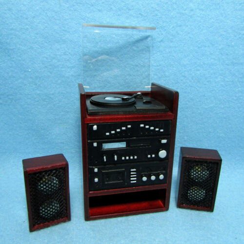 Dollhouse Miniature Music Stereo with Record Player and 2 Speakers T3258