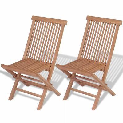 vidaXL 2x Patio Teak Folding Chairs Wood Outdoor Bistro Garden Seating Seat ()