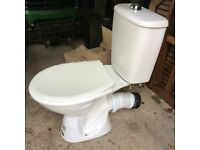 White toilet close coupled toilet and cistern