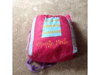 Girls pink sleeping bag & pillow in rucksack