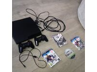 BARGIN PS3 SLIM 360GB,2 CONTROLLERS,4 GAMES,ALL WIRES!!!