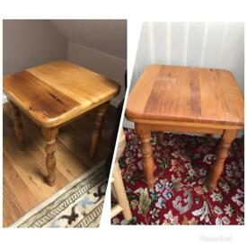 Solid wood pine side table (two available)