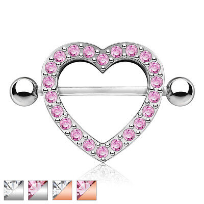 PAIR Gem Paved Heart Nipple Shields Rings Body Jewelry](Heart Gem)