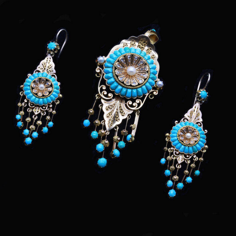 Antique Victorian Earrings Pendant Brooch Gold Turquoise Diamonds Pearls (6787)