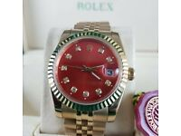 Brand New Gold Rolex Datejust Red face, Comes Rolex bagged, Boxed with paperwork
