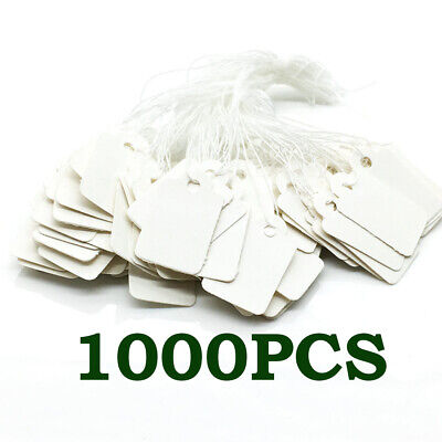 1000x Blank Price Tags Jewelry Hang Labels With String Display Marking Tag