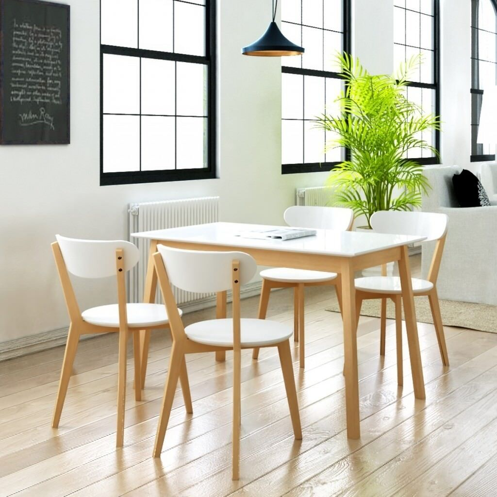 Brand new 5 piece mdf birch wood bistro coffee dining table and 4 chairs modern dining set in white