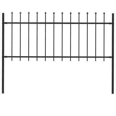 vidaXL Garden Fence Spear Top Steel 1.7x0.8m Outdoor Panels Barrier Border