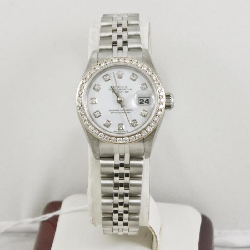 Rolex Ladys Datejust 79174 Factory White Diamond Dial & Custom Diamond Bezel