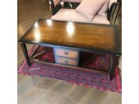 Coffee table, lovely wood with drawers each side & undertier to put baskets in, very good condition