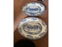 2 X Coaching Scene Meat platters Johnson Bros Blue