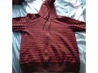 H&M men's medium M purple red stripe hoodie sweat