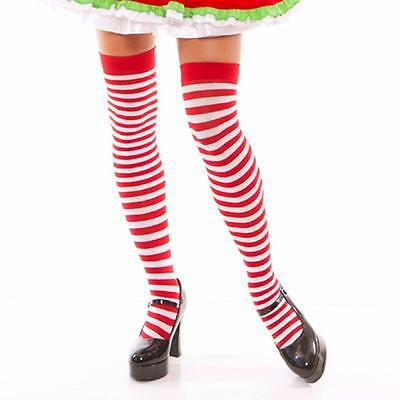 Red White Horizontal Striped Thigh High Stockings Candy Cane Elf Costume - Costume Stockings