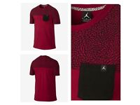 Nike Air Jordan RARE Unique Pocket GYM RED T Shirt Size Large BRED Cement Retro 3 Elephant Print