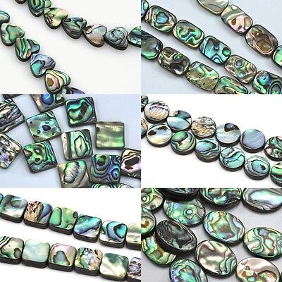 Green Abalone Shell Mother of Pearl Beads Double Sided for Jewllery Making