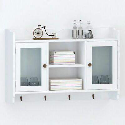 Modern Wall Cabinet Storage White Rustic Display Shelf Glass