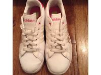 Adidas trainers in white/pink(size 5.5)
