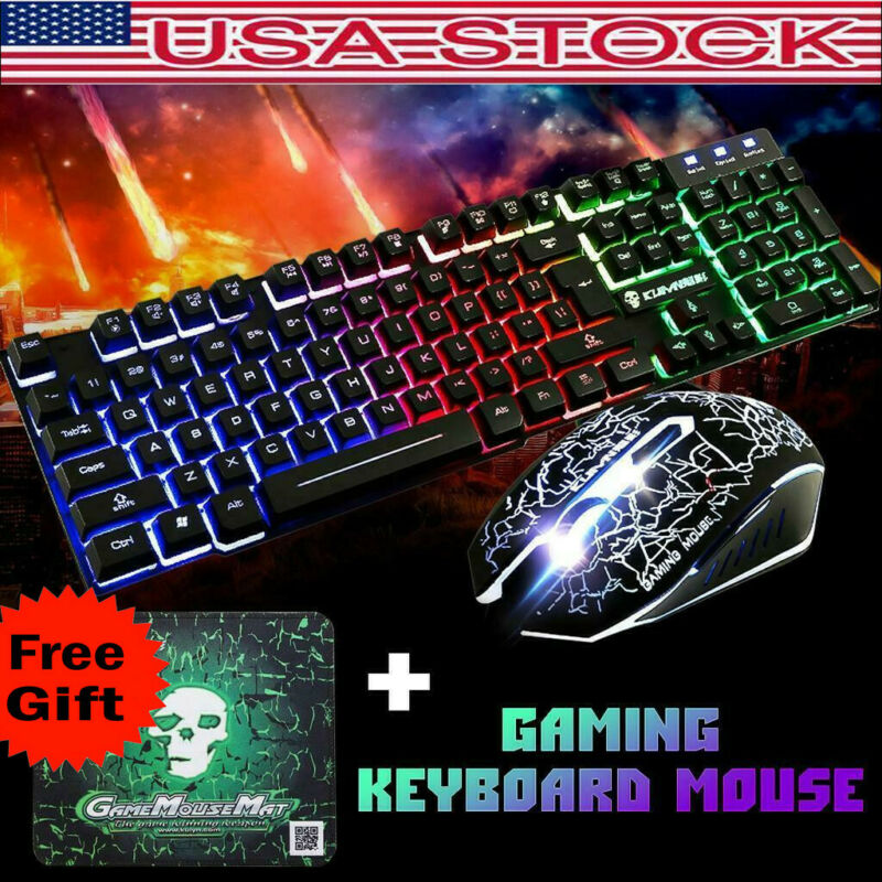 Rainbow Gaming Keyboard and Mouse Set Backlight Ergonomic Us