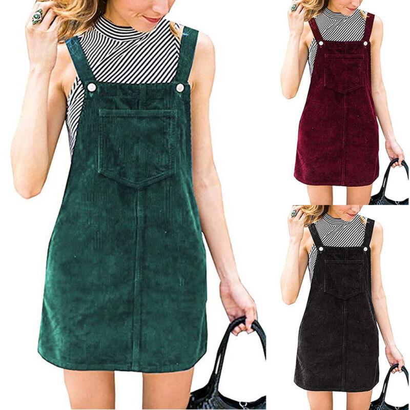 Women Lady Corduroy Suspender Skirt Mini Bib Overall Pinafor