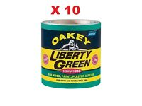 10 x Norton Oakey Liberty Green Roll Medium 80G 10m X 115mm sand paper