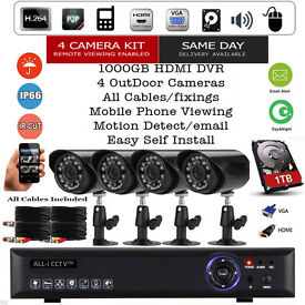 FULL CCTV Security System Camera Kit ✔ 4x Day/Night Cameras ✔ 1TB HDD ✔ HDMI ✔ Mobile View ✔NEW✔