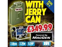 JEFFERSON PETROL GENERATOR DEAL AVR 2.2KW 5.5HP JEFGENPET22 & JERRY CAN