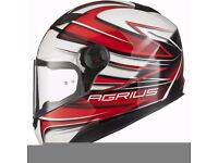 Brand New Ex Demonstration Agrius Rage Charger Motorcycle Helmet M Gloss Pearl White/Red Full Face