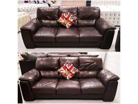 Real leather dark brown 2 x 3 seater sofas both 7ft long in good condition can deliver
