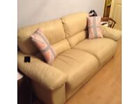 2/3 seater Italian leather ivory deep cushioned sofa - need gone today!!!