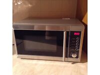 Stainless steel microwave oven with grill