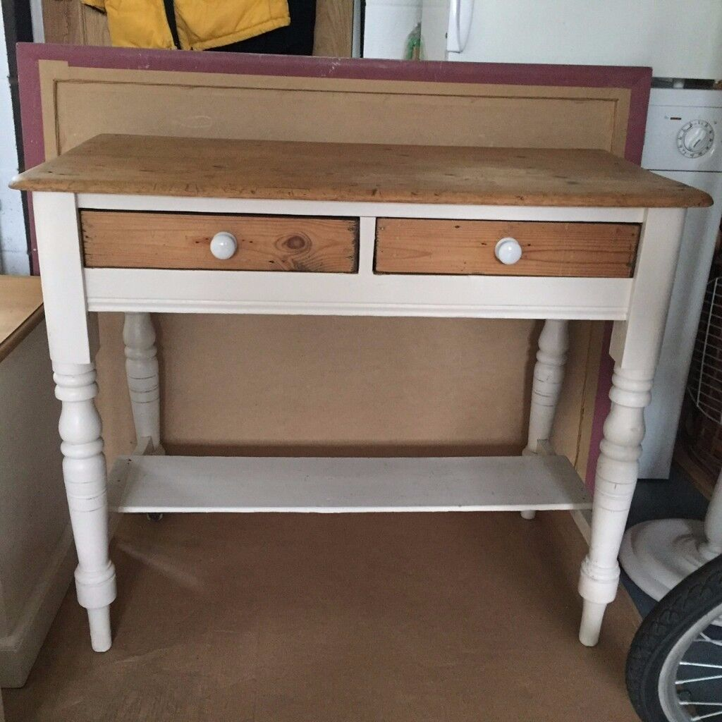 Victorian solid pine/painted side table – 'shabby chic' Annie Sloan