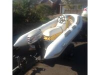 Quicksilver Rhino Rib with 25 hp 2 stroke Mariner engine and small trailer