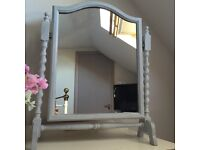 Farrow and Ball grey painted antique wooden mirror £25