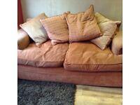 DFS large 2 seater fabric sofa - terracotta colour