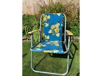 Vintage floral folding deckchair with painted wooden arms
