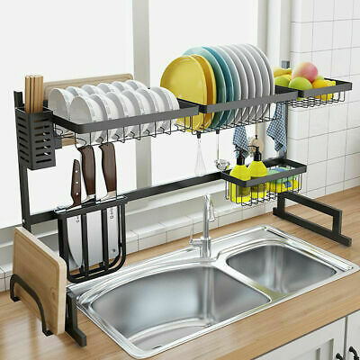 Over Sink Dish Cutlery Drying Rack Drainer Stainless Steel Kitchen Holder -