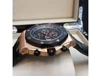 New AP Audemars Piguet with Black Strap Rosegild Casing and Black Face Comes Ap Boxed With Paperwork