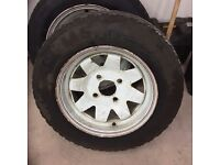 """Weller wheels, 4x130, 2x6.5 wide, 2x7.5 wide, 2x8.5 wide all x 15"""" including tyres."""