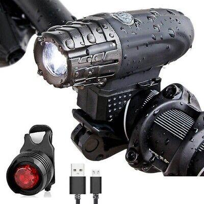 Luz delantera y Trasera LED para bicicleta 300lm Lámpara brillo usb recargable