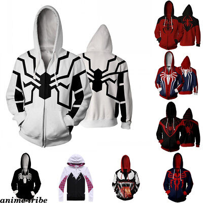 Marvel Spider-Man Mens Sweater Hoodie Cosplay Costume 3D Printed zip Jacket Coat