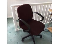 Computer desk together with a fully adjustable swivel chair