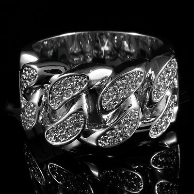 (18K White Gold Plated ICED OUT CZ CUBAN LINK Band Mens Silver Rhodium Ring)