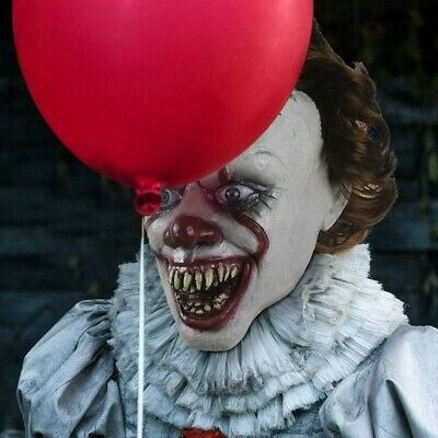 Pennywise Halloween Scary Clown Latex Full Face Costume Creepy Horror